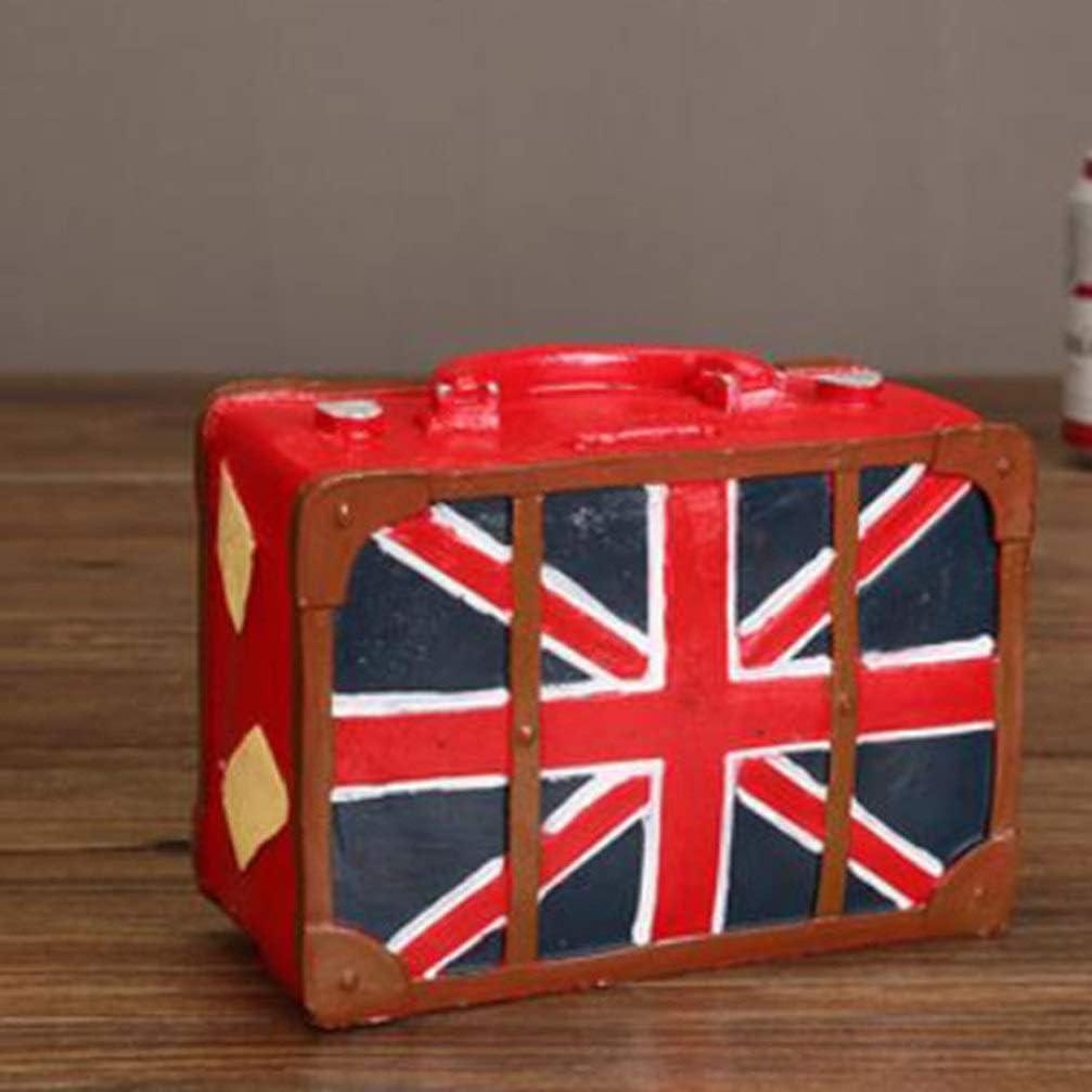 Garneck Piggy Bank Carrying Case Suitcase Vintage Resin Desktop Money Box Coin Box Saving Pot Home Bar Pub