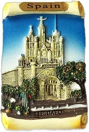 Tibidabo Barcelona España Europa Ciudad Mundial resina 3d fuerte imán para nevera recuerdo turista regalo chino imán hecho a mano creativo hogar y cocina decoración magnética: Amazon.es: Hogar