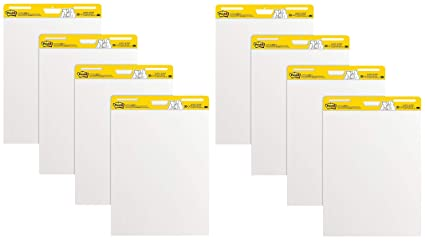 25 x 30 Inches Large White Premium Self Stick Flip Chart Paper LLS 30 Sheets//Pad 8 Pads Super Sticking Power Post-it Super Sticky Easel Pad