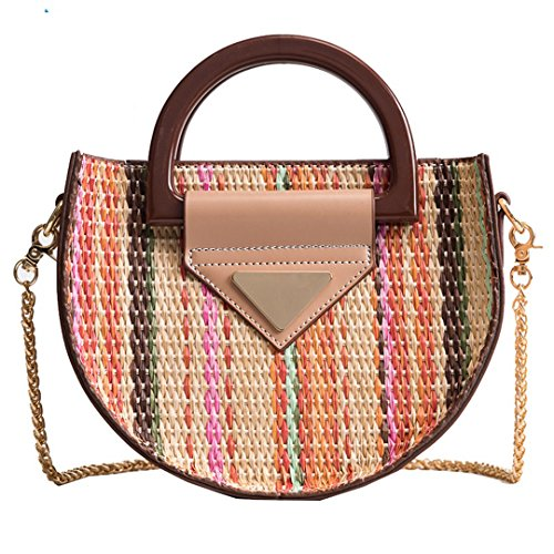 Plage Women Multi Bohemian Shoulder Crossbody Panier Round Ladies Messenger Rattan Straw Bags Bali Bags Summer For Beach Hobo Small UUwrxqOE1