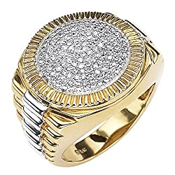 Men's 18K Yellow Gold Over Sterling Silver Round Genuine Diamond Pave Two Tone Ribbed Ring (1/6 cttw, I Color, I3 Clarity)