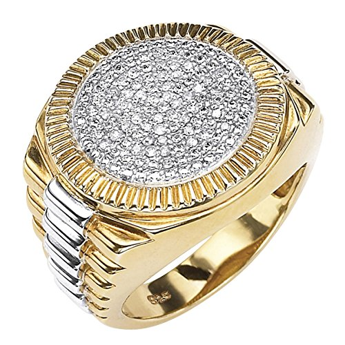 Men's Pave Diamond Two-Tone 18k Gold over .925 Silver Ribbed Ring (.15 cttw, HI Color, I4 Clarity) Size 13