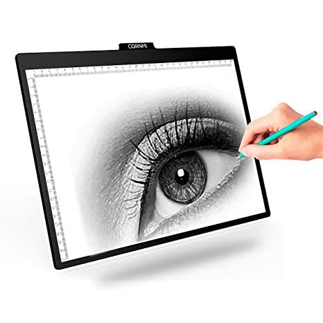 M.Way - Tablero de dibujo LED A2 / A3 / A4 ultra-fino con luz, para copiar, con brillo ajustable, para tatuajes, bocetos, arquitectura, caligrafía, ...