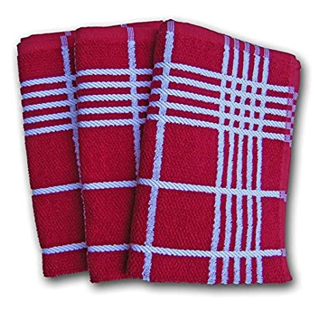 Ross K/üchen-Frottiertuch Quadrat gro/ßes Karo 3er Pack Rot