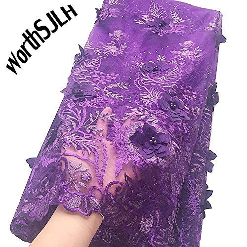 WorthSJLH Applique African Lace Fabric 3D Lace Material Purple Grey Net Lace Fabric for Wedding Dress French Tulle Lace J403 - French Tulle