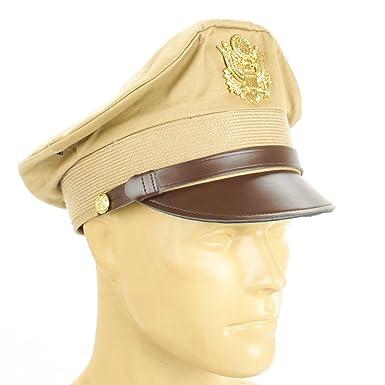 9fbe899d2194ce Amazon.com: U.S. WWII Officer Visor Crusher Cap: Summer (Khaki ...