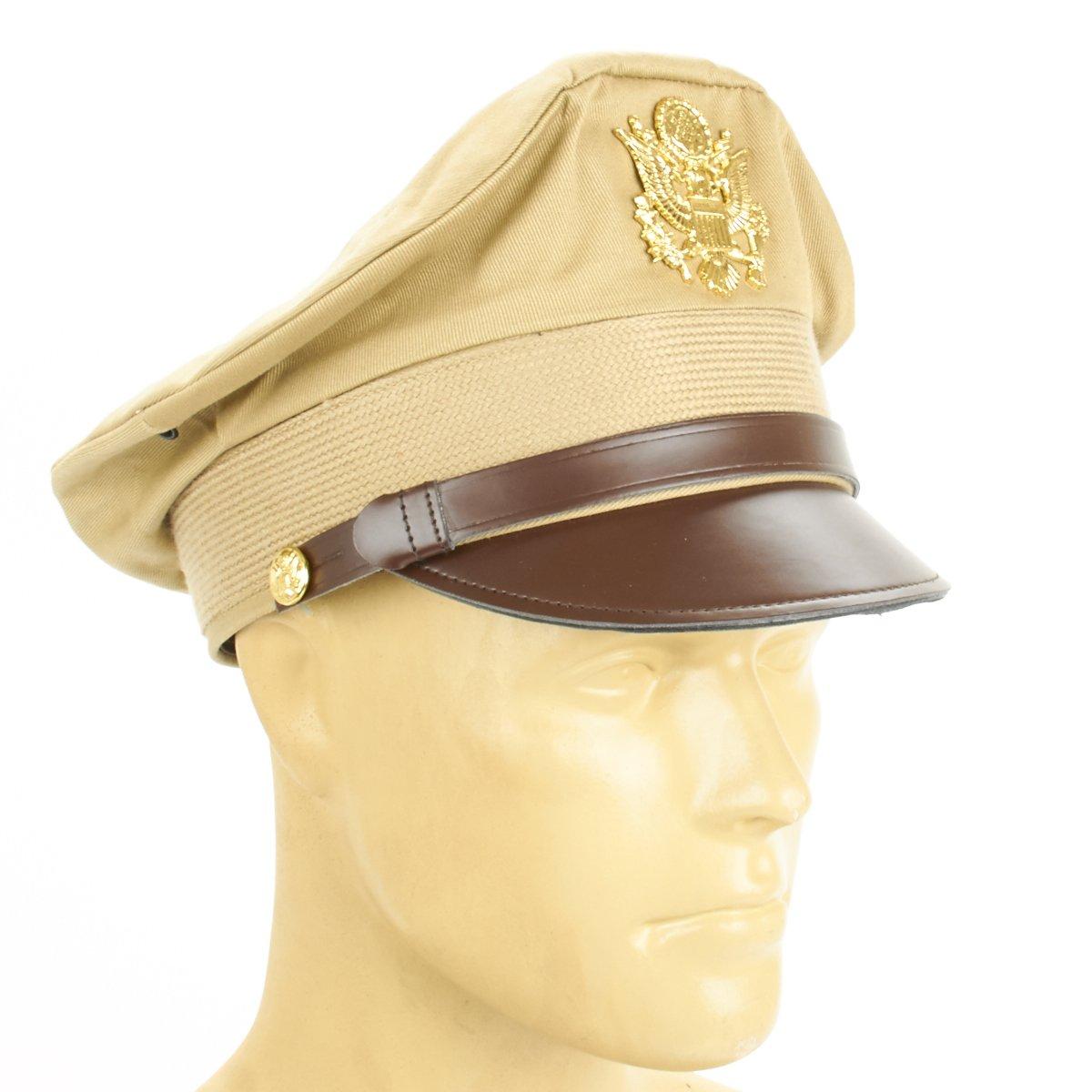 U.S. WWII Officer Visor Crusher Cap: Summer (Khaki) - Size US 7 3/4 (62 cm)