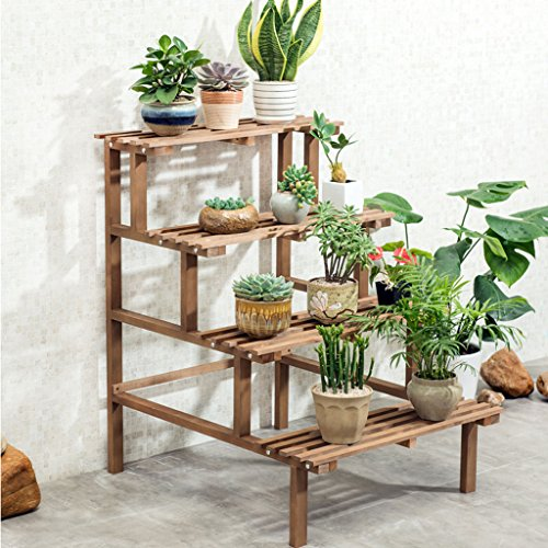 LSJT Solid Wood Ladder Flower Stand Multi-Layer Indoor Outdoor Decoration Party Plant Stand Floor Stand Save Space Display White Retro Color 5.5kg (12lbs) (Color : (Wood Ships Ladder)