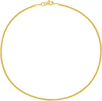 3 tone 14K Solid gold wheat chain anklet