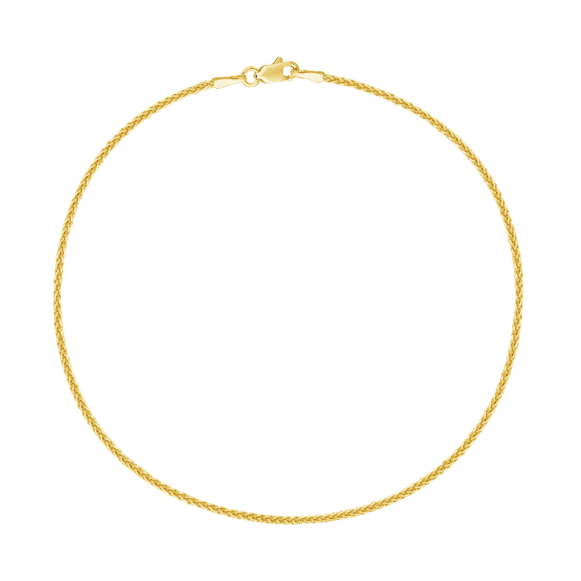 14k Real Yellow Gold Wheat Chain Anklet Lobster Lock Ankle Anklet 1.1mm 10 Inches