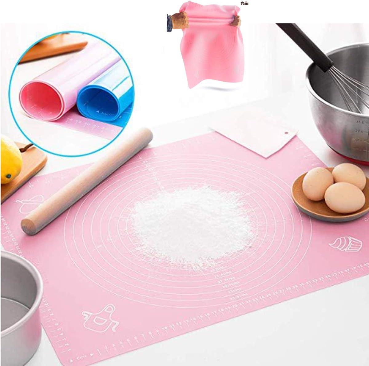 Tianher 2 Pezzi Tappetino Silicone Teglia Carta da Forno Riutilizzabile in Silicone Blu Rosa per Forno Pasticceria Resistente al Calore Pizza Pasta Fondente Dolci