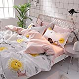 KFZ Bed SET Bedding Set Duvet Cover Set Bed Flat Sheet Pillow Covers No Comforter King Set Sheets Set ZL Bear Bingo Apple Lavender Design 4pcs for Kids Adults Teens(Smile Orange, Pink, King 86''x94'')