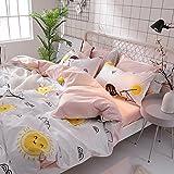KFZ Bed SET Bedding Set Duvet Cover Set Bed Flat Sheet Pillow Covers No Comforter King Set Sheets Set ZL Bear Bingo Apple Lavender Design 4pcs for Kids Adults Teens(Smile Orange, Pink, King 86''x94'')