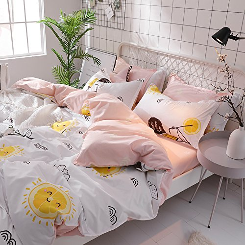 KFZ Bed SET Bedding Set Duvet Cover Set Bed Flat Sheet Pillow Covers No Comforter King Set Sheets Set ZL Bear Bingo Apple Lavender Design 4pcs for Kids Adults Teens(Smile Orange, Pink, King 86''x94'') by KFZ