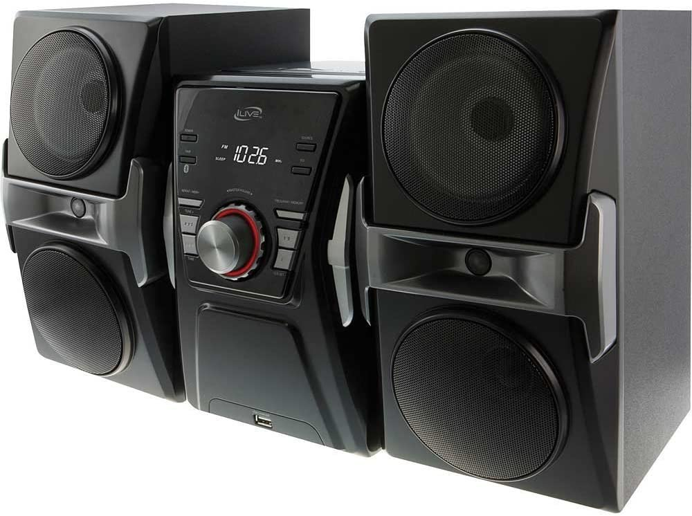 iLive Bluetooth Stereo Music Sound System with Single Disc Cd Player, FM-Radio, Sleep Timer, Remote Control