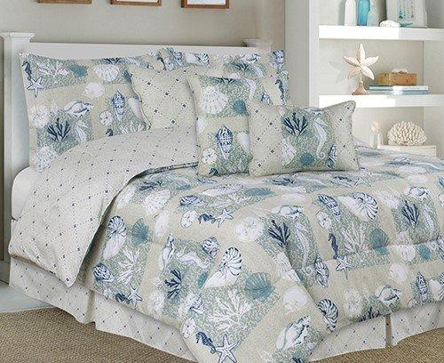 Bed Comforter Elite Set - Nautical Ocean Elites Seashell 7 Piece Bed In Bag Comforter Set, Size Full
