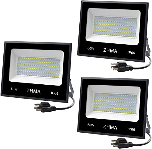 ZHMA 3 Pack 60W Led Flood Light, Outdoor Spotlight, Super Bright Work Light with Plug, IP66 Waterproof White Light , 5400lm, 6500K, Garage, Backyard, Security Lights Outdoor