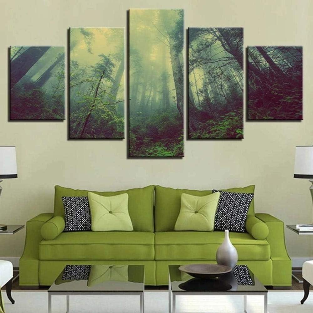 45Tdfc Cuadro En Lienzo 5 Piezas Bosque Aurora Dormitorio Arte Cartel Pared DecoracióN del Hogar Cuadro Pintura para Sala Estar Listo para Marco