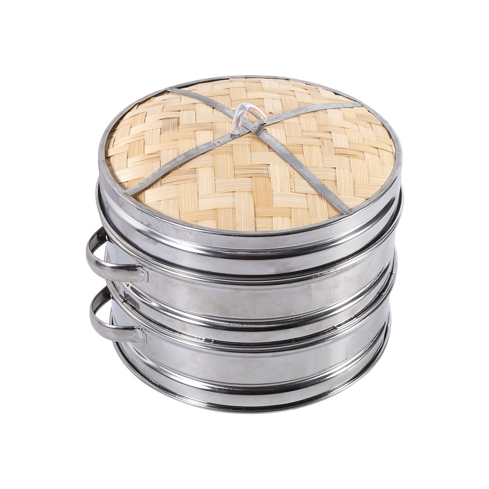 2 Tiers Bamboo Steamer Stainless Steel Rim Natural Dim Sum Basket with Lid Food Steamer for Kitchen Cooking Fdit