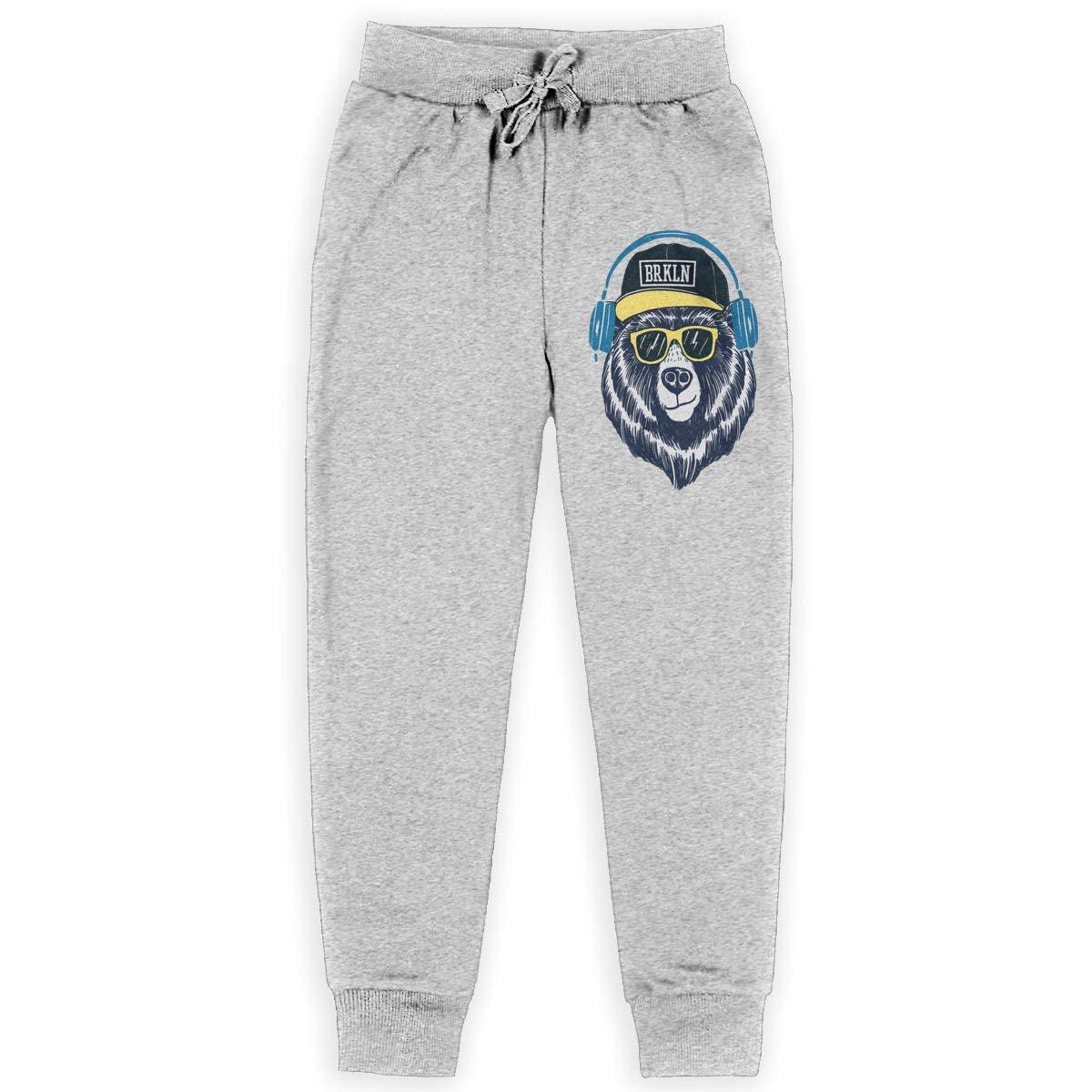 Xinding Boys Casual Jogger Sweatpants Cool Bear Adjustable Waist Pants with Pocket