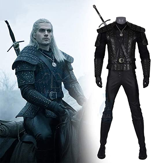 Movie The Witcher Cosplay Geralt of Rivia Costume Halloween Adult Male Outfit#