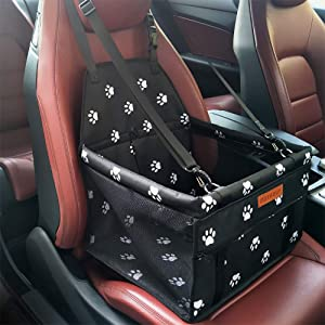 SWIHELP Pet Car Booster Seat Travel Carrier Cage, Oxford Breathable Folding Soft Washable Travel Bags for Dogs Cats or Other Small Pet