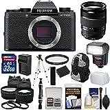 Fujifilm X-T100 Digital Camera Body (Black) & 18-135mm Lens + 32GB Card + Battery & Charger + Backpack + Tripod + Flash + 2 Lens Kit