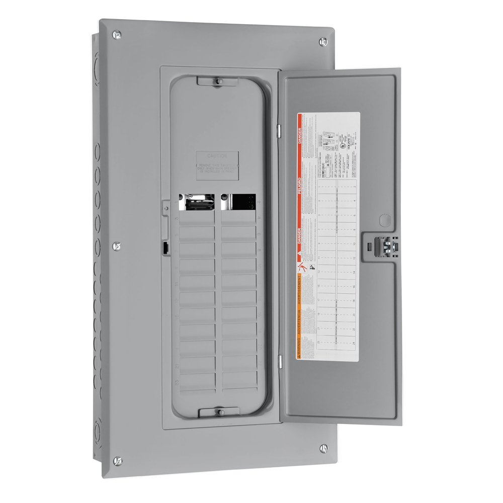 Square D by Schneider Electric HOM24L125TC Homeline 125-Amp 24-Space 24-Circuit Indoor Main Lugs Load Center with Cover and Factory-Installed Ground Bar