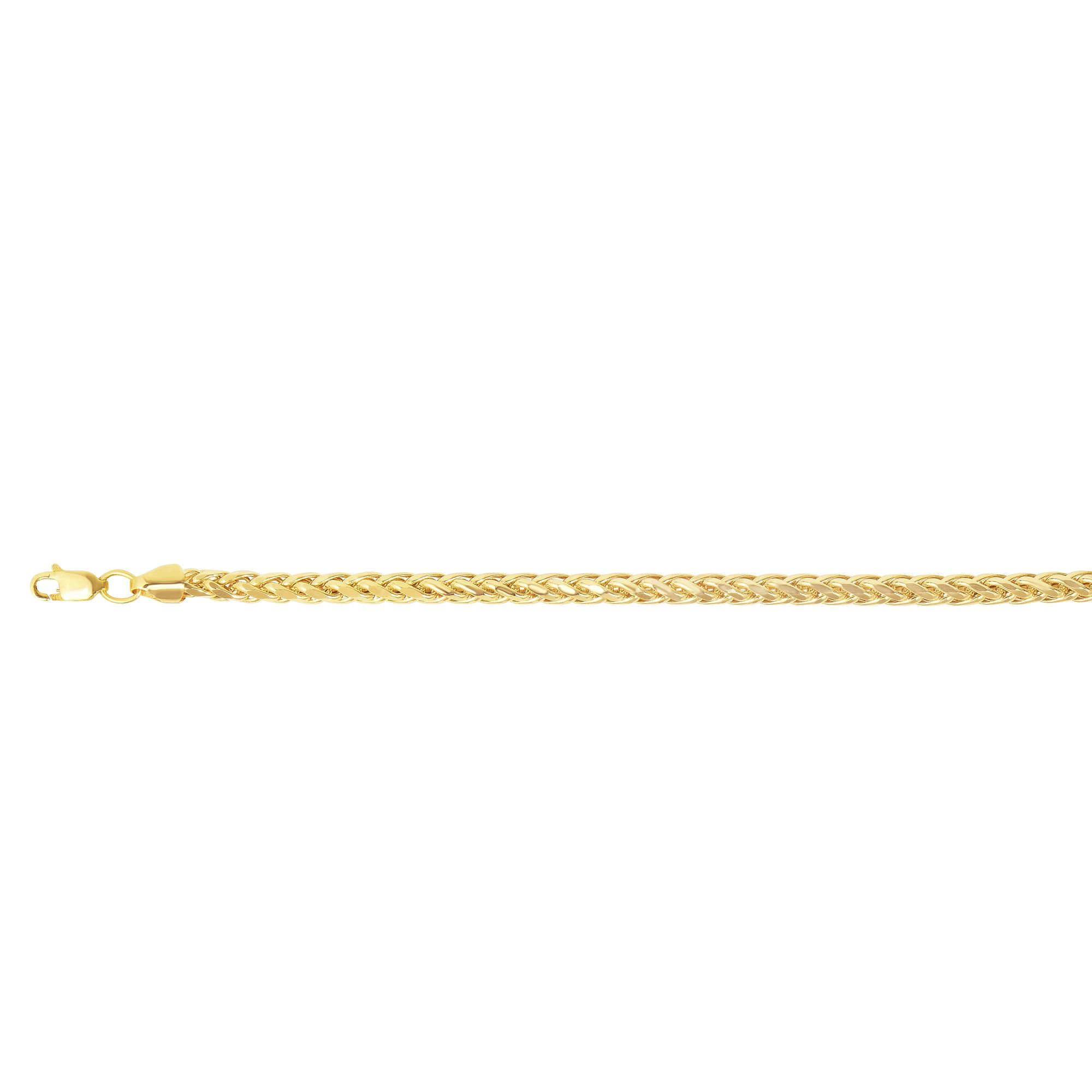 14K Yellow Gold 5mm Round Franco Chain Diamond Cut Semi-Solid 8.75'' Long Bracelet with Lobster Clasp