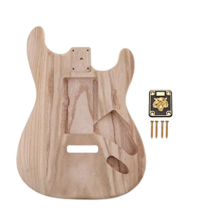 B Blesiya Guitarra Eléctrica Sin Terminar De Madera Maciza Cuerpo + Cuello Placa Herramientas Luthier Para