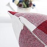 Red White Christmas Buffalo Checkers Plaids Linen Square Throw Pillow Cover Decorative Cushion Shams Pillowcase Love Cushion Case for Sofa 18 x 18 Inch