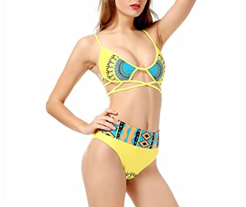 1aedbf8a7 CXQWAN Bikini para Mujer Bikini Estilo étnico Amarillo Cintura Alta Lady  Swim Beach Sling Bañador para Mujer Sexy