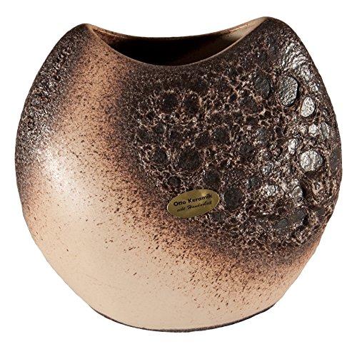 OTTO KERAMIK 2842 Krater Vase, 11 x 20 x 19 cm, weiß / braun