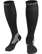HAUEA Calcetines de Compresión Hombre y Mujer Medias de Compresión para Deporte Running Fútbol Ciclismo Mejorar