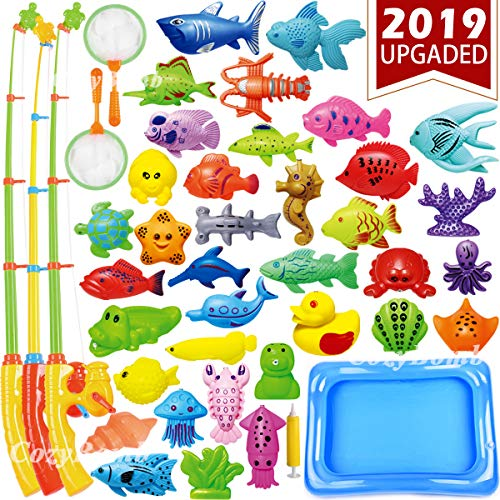 CozyBomB Kids Pool Fishing Toys Games – Summer Magnetic Floating Toy Magnet Pole Rod Fish Net Water Table Bathtub Bath Game – Learning Education For age 3 4 5 Boys Girls Toddlers Carnival Party Favors