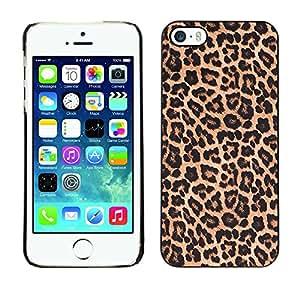 FlareStar Colour Printing Leopard Pattern Fur Brown Golden cáscara Funda Case Caso de plástico para Apple iPhone 5 / iPhone 5S