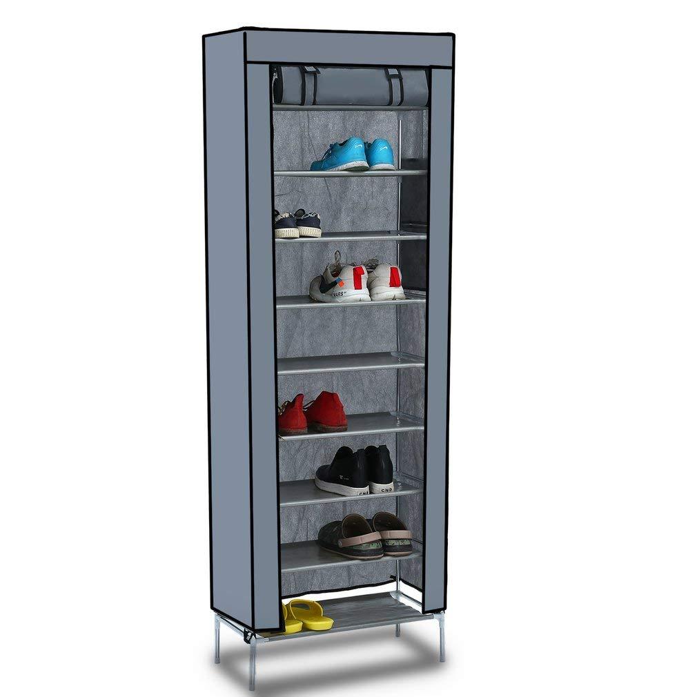10-Schicht DIY Schuhschrank Schuhablage Schuhregal Schuhständer Vliesstoff Grau