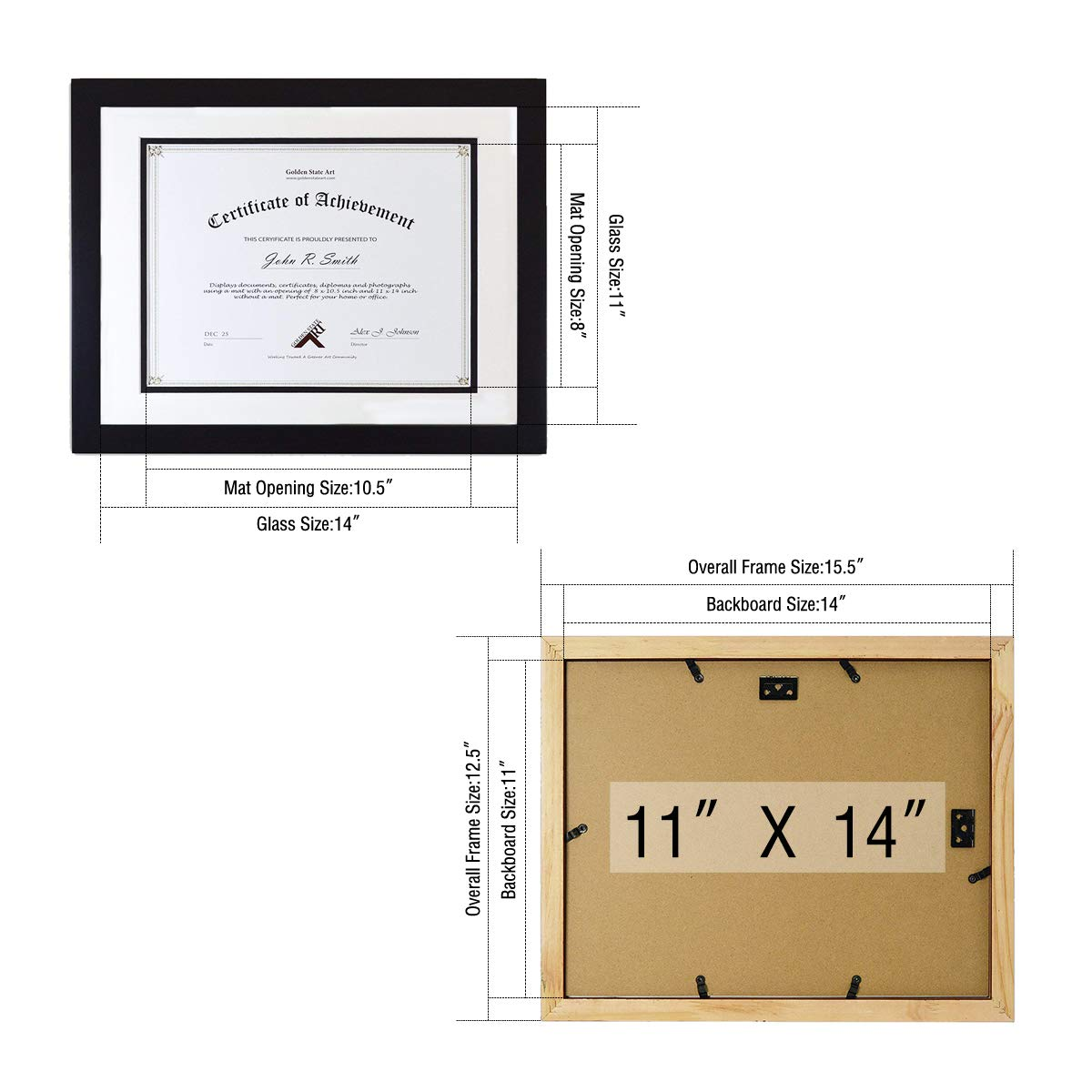 Golden State Art, Black Color, 11x14 Document/Photo Wood Frame, with White Over Black Double Mat for 8.5x11 Document & Certificates, Real Glass by Golden State Art (Image #3)