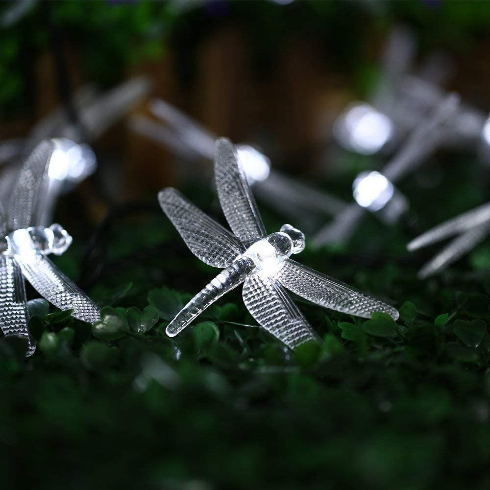 CIAOYE Outdoor Dragonfly Solar String Lights, 20LED 16ft Waterproof Fairy Lighting for Christmas Trees, Garden, Patio, Fence, Wedding, Party and Holiday Decorations, White