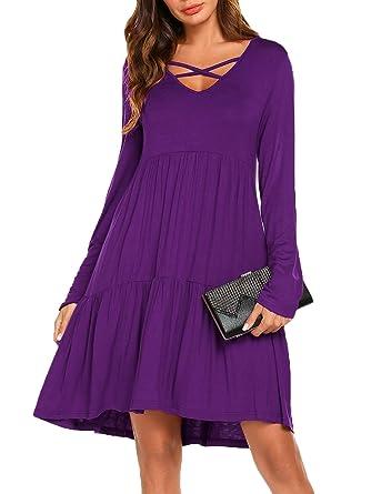 aad071a9bdb1 Women s Criss Cross Neckline Long Sleeve Ruffle Loose Swing Casual T Shirt  Dress (Purple