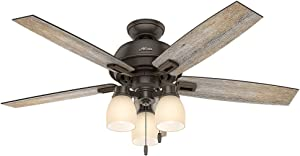 Hunter Indoor Ceiling Fan, with pull chain control - Donegan 52 inch, Onyx Bengal, 53336