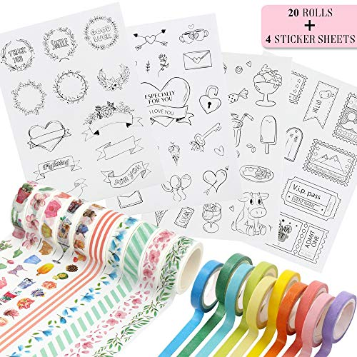 Washi Decorative Masking Tape & Bonus Stickers - Set of 20 Different Designs - Adhesive Rolls (15mm & 7mm) for Dot or Bullet Journals and Planners, Scrapbooking, DIY and Craft