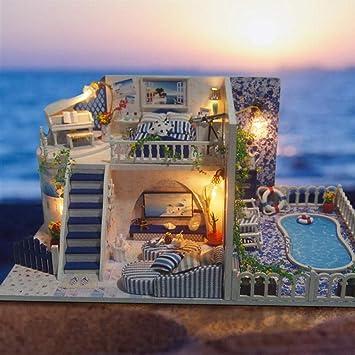 QIANBAOBAO Casa De Bricolaje Regalo Creativo Hecho A Mano DIY Cabaña Hecha A Mano Modelo De Ensamblaje Santorini-Santorini: Amazon.es: Juguetes y juegos