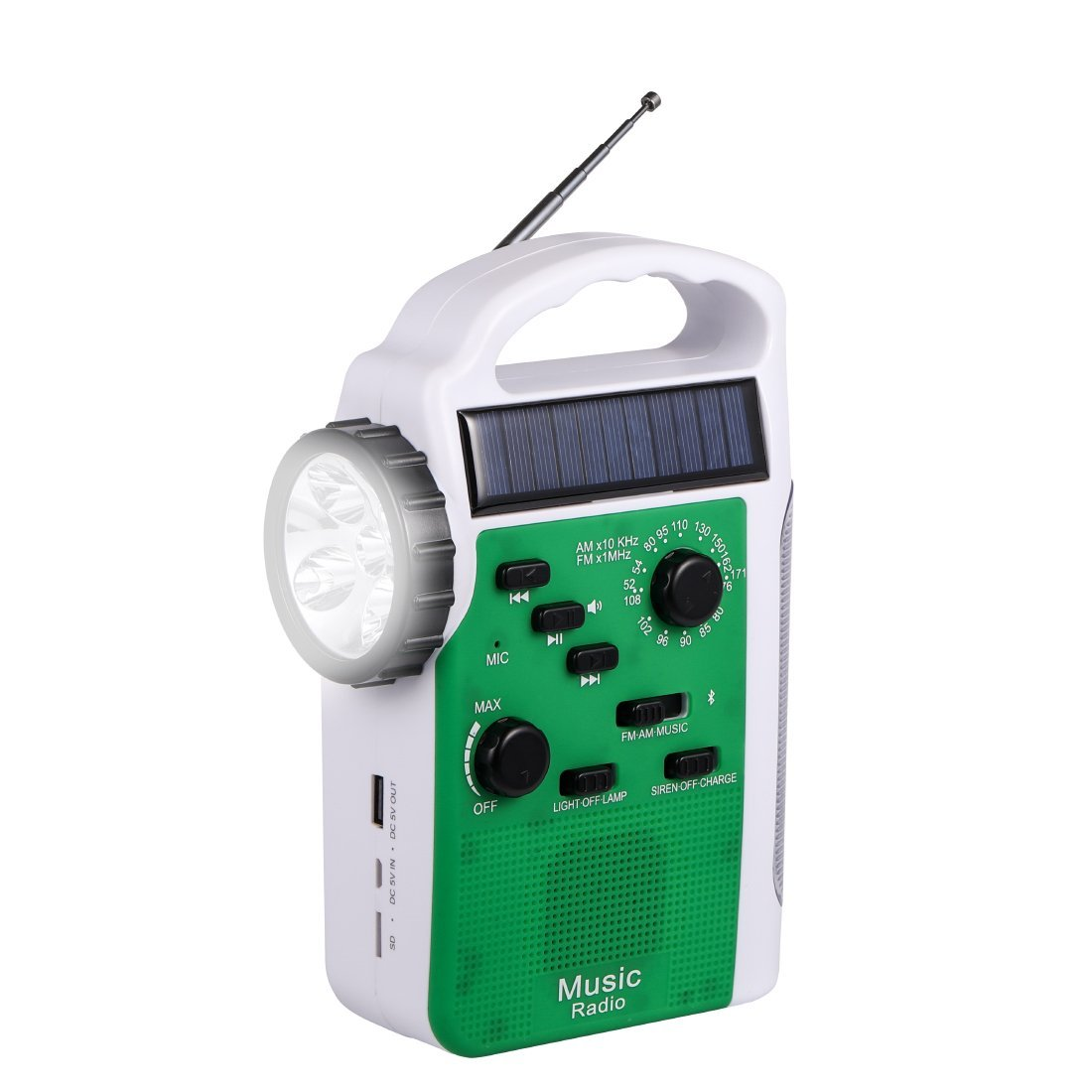 Emergency Radio with Solar and Crank, Portable Battery USB Recharging FM/AM Radio with Bluetooth Speakers LED Flashlight Camping Lantern 2300 mAh Power Bank Phone Charger MP3 Player Siren (Green) by MOLEBIT (Image #1)