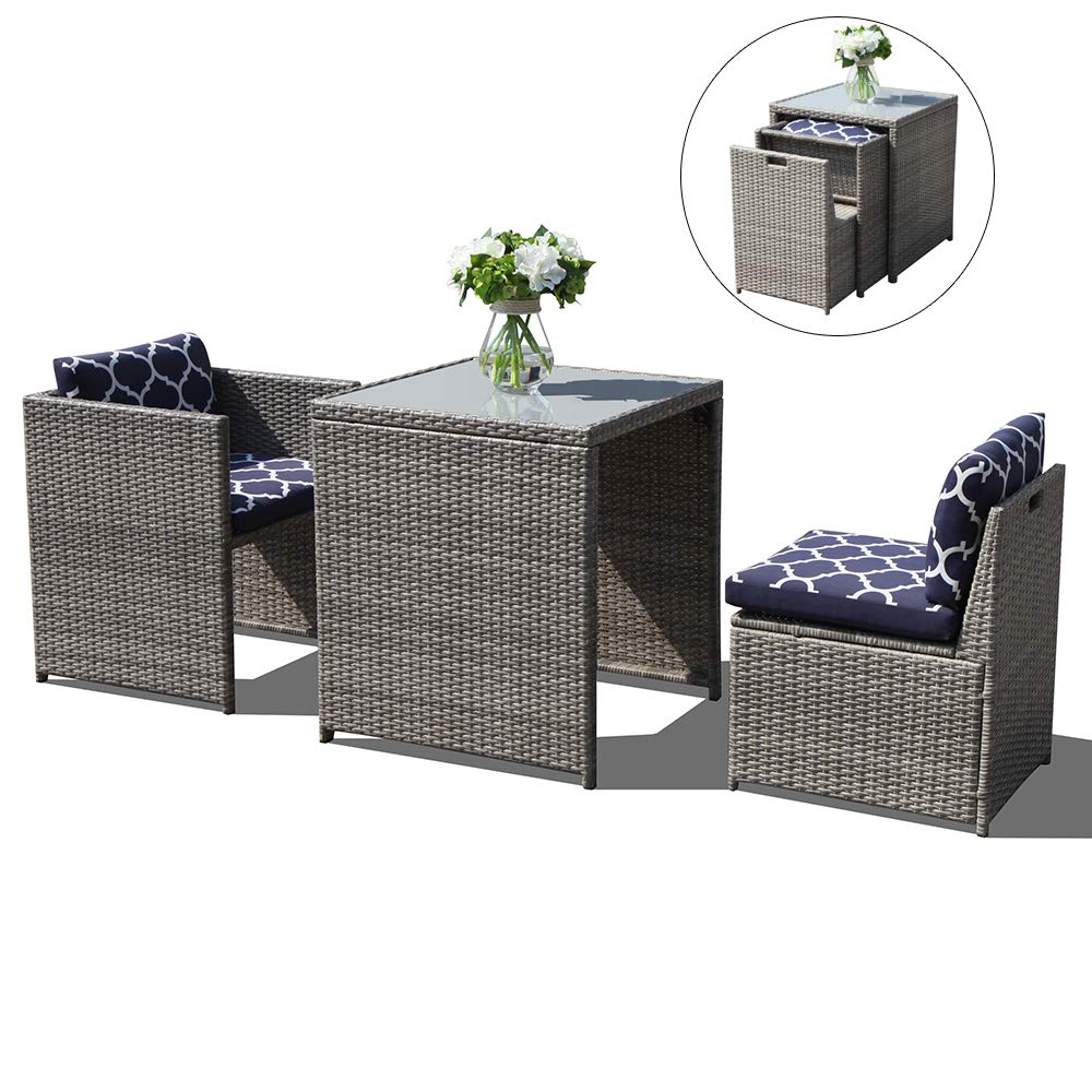 Oc orange casual 3 piece outdoor patio furniture set cushioned rattan wicker conversation dining bistro chair and table space saving design garden lawn