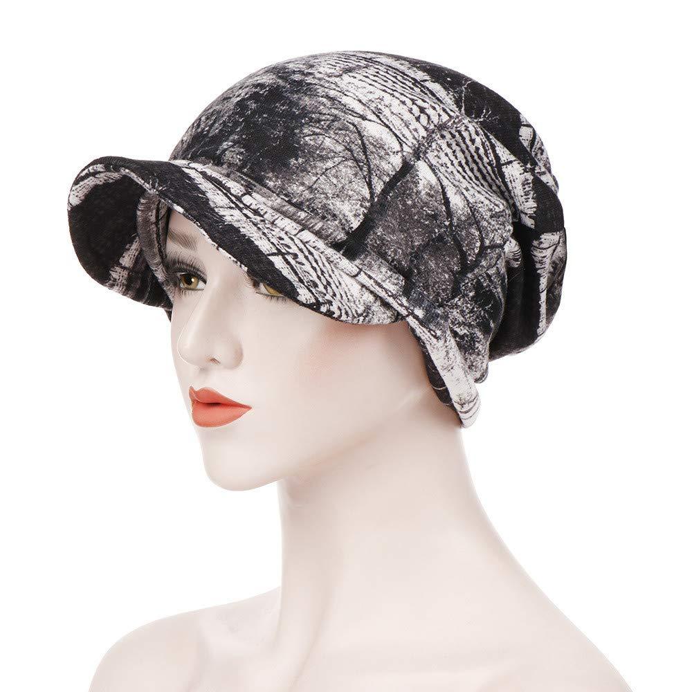 Nadition Fashion Women Floral Print Cotton Keep Warm Winter Canvas Wide-Brimmed Hat Turban Cap Dual-Purpose Cap Hat