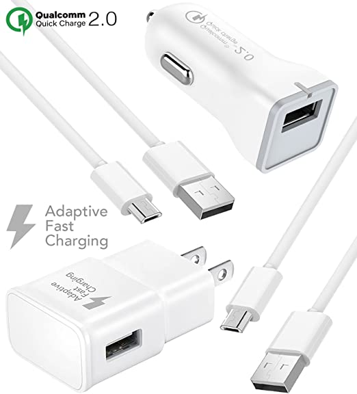 LG V10 Charger Fast Micro USB 2 0 Cable Kit by Ixir - {Fast Wall Charger +  Fast Car Charger + 2 Cable}