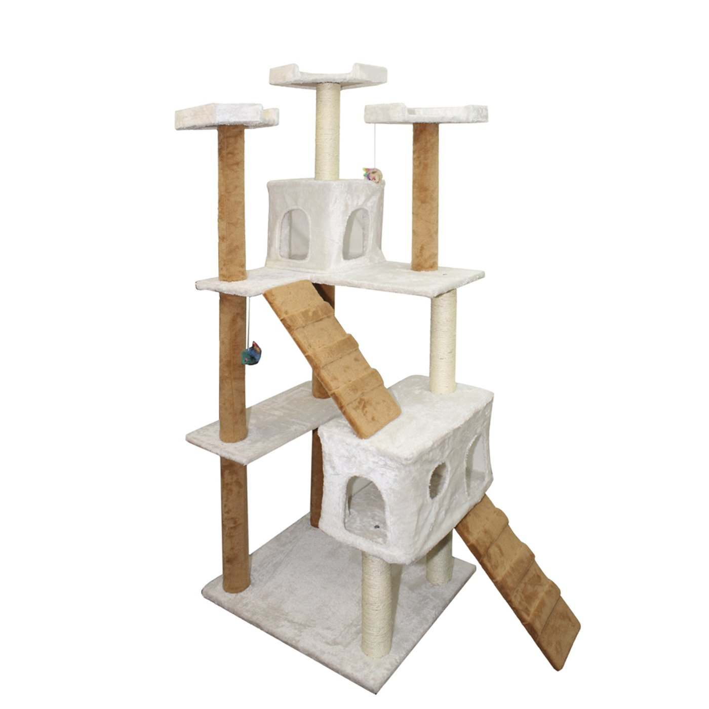 Paws & Pals Condo Cat Tree with Scratching Post And Toys - 22x22x58-Inches, Tan and White