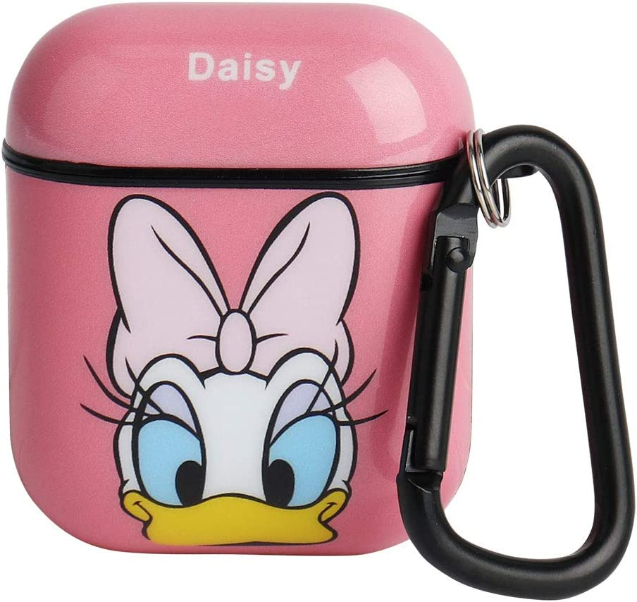 HaRuion Airpods Case, Personalized Funny Airpods Accessories, Cute Cartoon Full Protective Durable Shockproof Drop Proof Case Cover with Keychain Compatible with AirPods 2 and AirPods 1 (DaisyDuck)