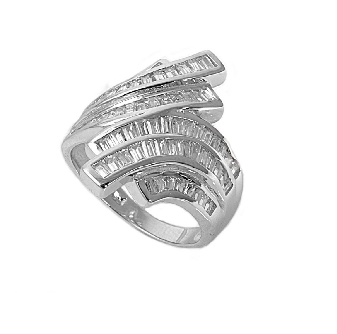 Baguette Rows Designer Cubic Zirconia Ring 925 Sterling Silver Size 7